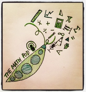 Drawing of a pea pod with math symbols at the top as well as the title The Math Pod with a podcast logo.