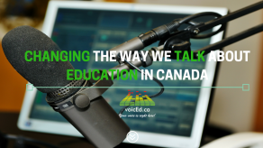 """Image of an iPad with a mic in front of it with the caption """"Changing the way we walk about education in Canada"""" and the voiceEd.ca logo"""